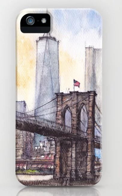 #ny #newyork #usa #illustration #ink #watercolor #art #sketch #urban #architecture #colorful #multicolor #aerialview #buildings #tourism #tourist #brooklyn #bridge #sale #gift #idea #s6 #society6 #printondemand #shopping #giftidea #handdrawn #drawing #painting #homedecor #decoration #artist #architect #fineart #turquoise #blue #sky #positiveart #positive #vacation #oneworldtradecenter #skyscrapers #water #custom #case #iphone #iphonex #smartphone #protection