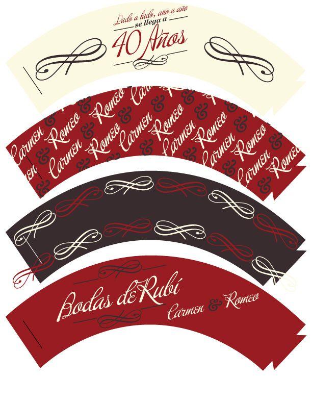Cupcakes wrapers bodas de rub decoraci n de fiestas for Decoracion 40 aniversario de bodas