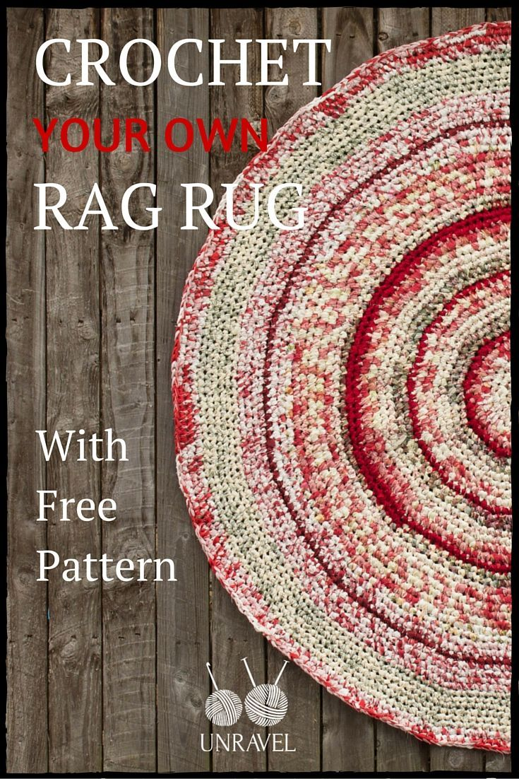 How To Unravel Knitting Stitches : Crochet Your Own Rag Rug   Free Pattern (Unravel Knit & Crochet) A webs...