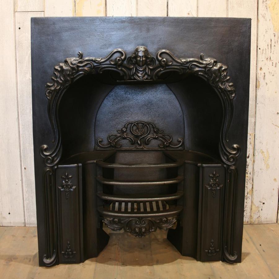 pretty original late georgian fireplace insert in cast iron
