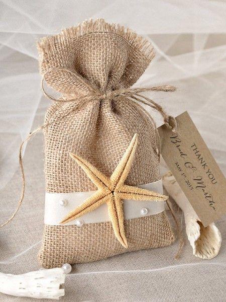 Rustic Country Beach Burlap Wedding Favor Bags
