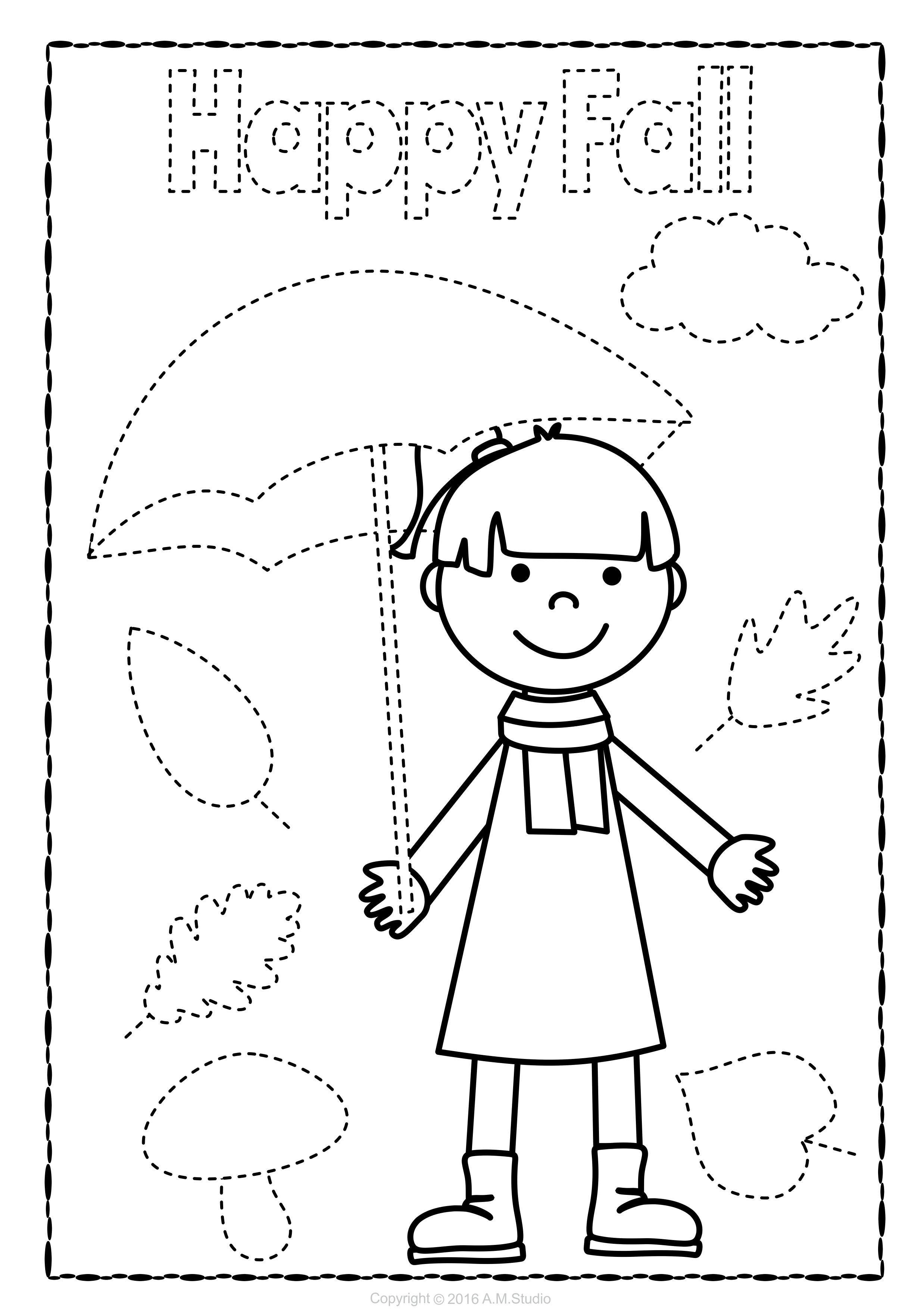 Fall Trace and Color Pages {Fine Motor Skills + Pre-writing ...