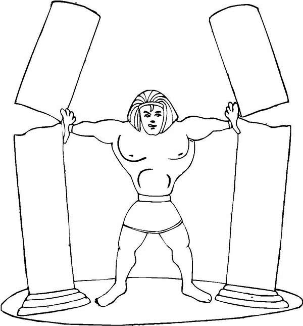 Samson Demolish Big Tall Pillars Coloring Page : Color