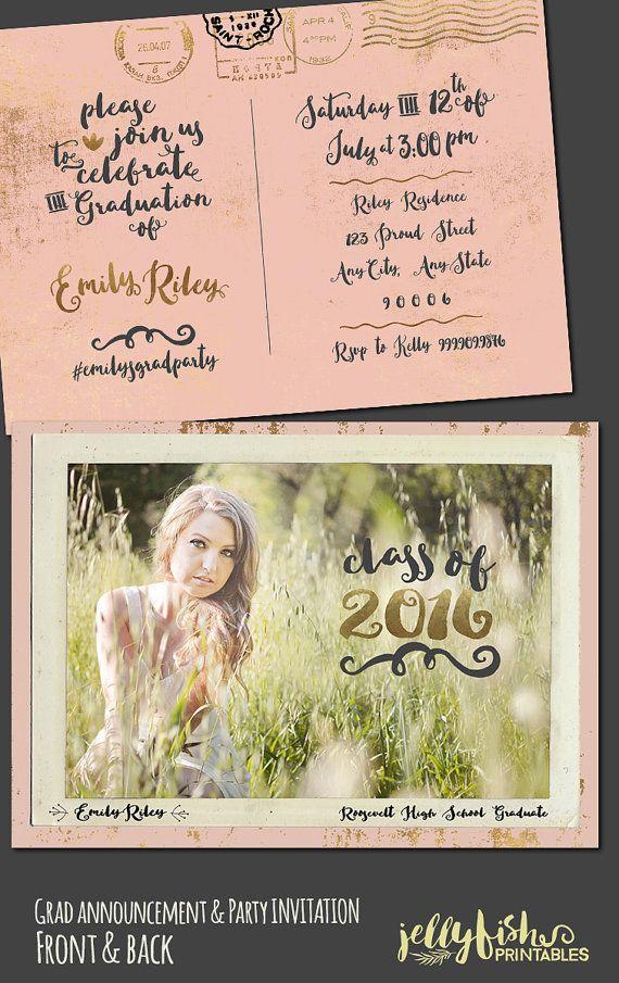 Vintage Postcard Photo Graduation by JellyfishPrintables on Etsy – Graduation Postcard Invitations