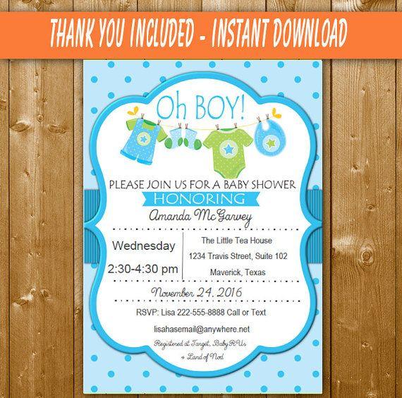 Oh Boy Baby Shower Invitation, Boy Baby Shower, Blue Green Shower - download free baby shower invitations
