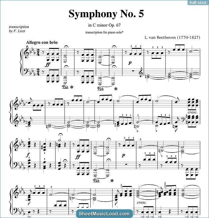 Symphony No 5 In C Minor Op 67 Sheet Music For Piano Solo By