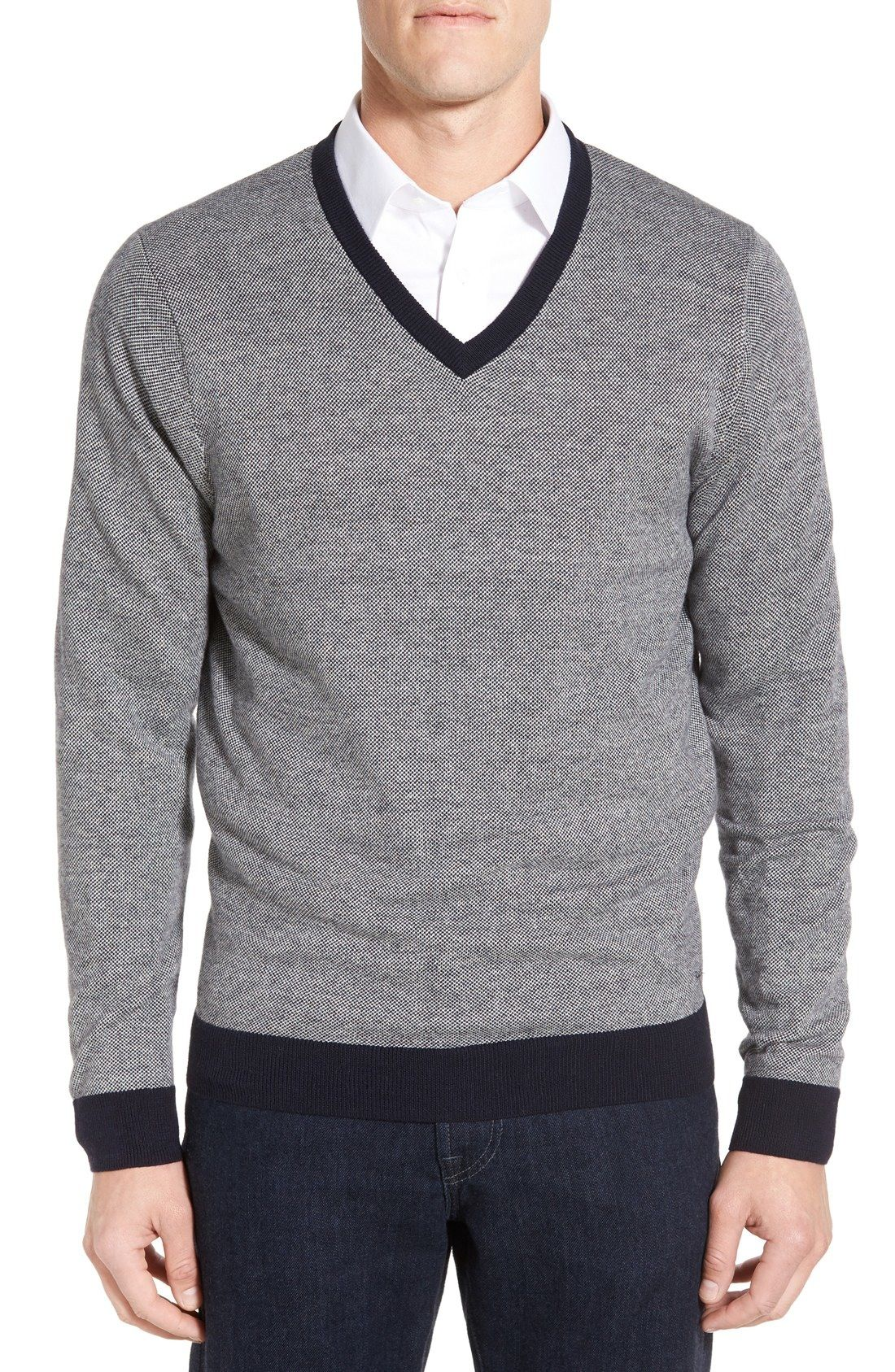 Nordstrom Men's Shop Textured V-Neck Sweater available at ...