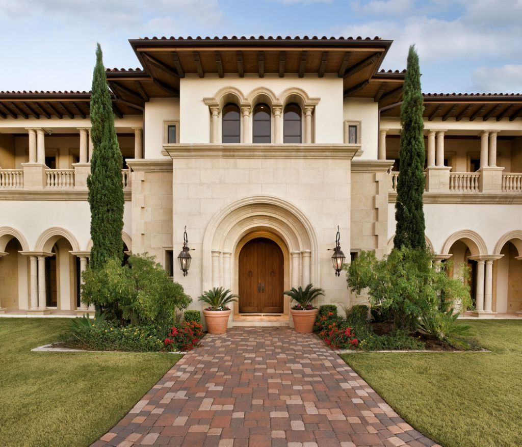Tuscan house style with front walkway and italian cypress for Cypress house