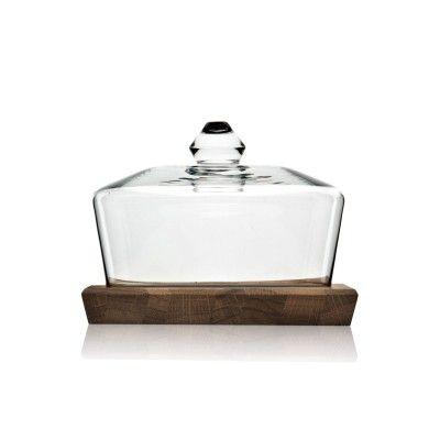 Duomo glassklokke med kraftig eikeplate. Design fra InspireBy. Til ost, frukt, eller dine favorit-ting! Idealias.com