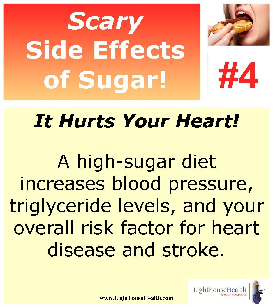 Scary Side Effect of Sugar #4! It hurts your heart! A high-sugar diet increases blood pressure, triglyceride levels, and your overall risk factor for heart disease and stroke! #LighthouseHealth www.LighthouseHealth.com #WeightLoss #ilovesugar #scarysideeffects #heartdisease #highbloodpressure #stroke