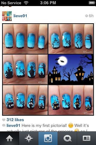 Spooky Haunted House Nails Tutorial Halloween Nail Designs Halloween Nail Art Nail Art Tutorial