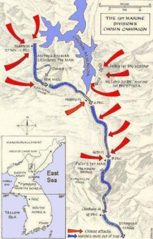 Korean War Map X Corps And Chinese Forces In Chosin Reservoir Area