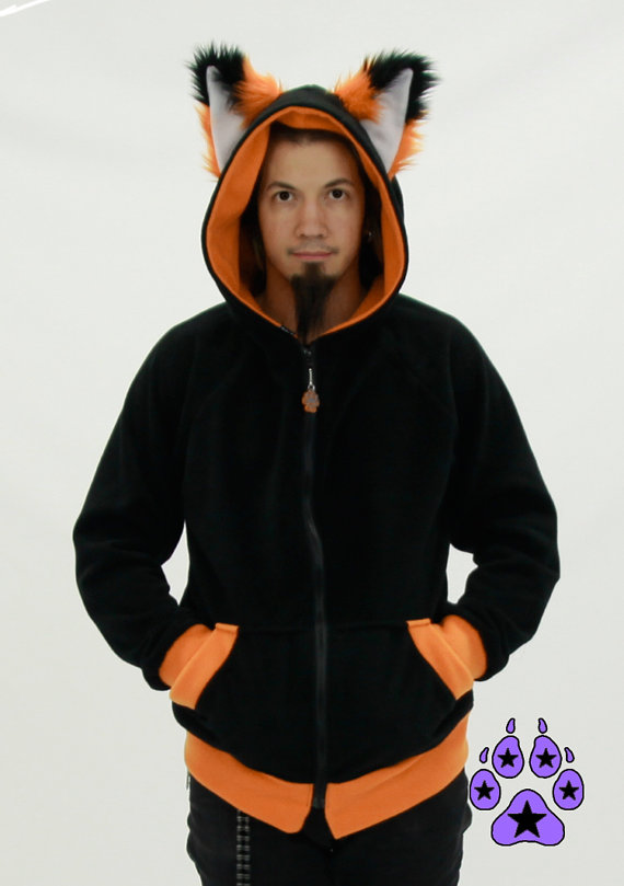Pawstar FOX Ears Hoodie - Furry Cosplay costume Anime kitsune furry Wolf Kitty jacket coat costume apparel Orange Purple Red 6150 Xuj7q