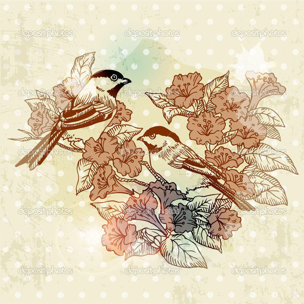 XOO Plate Quaint Birds With Flowers Vintage Background