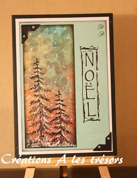 Carte De Noel Technique D Encres Et Sel Carte Noel Papier