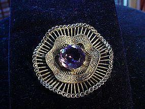 """Stunning THEODOR FAHRNER Amethyst Sterling + Marcasite """"Pinwheel"""" Brooch"""