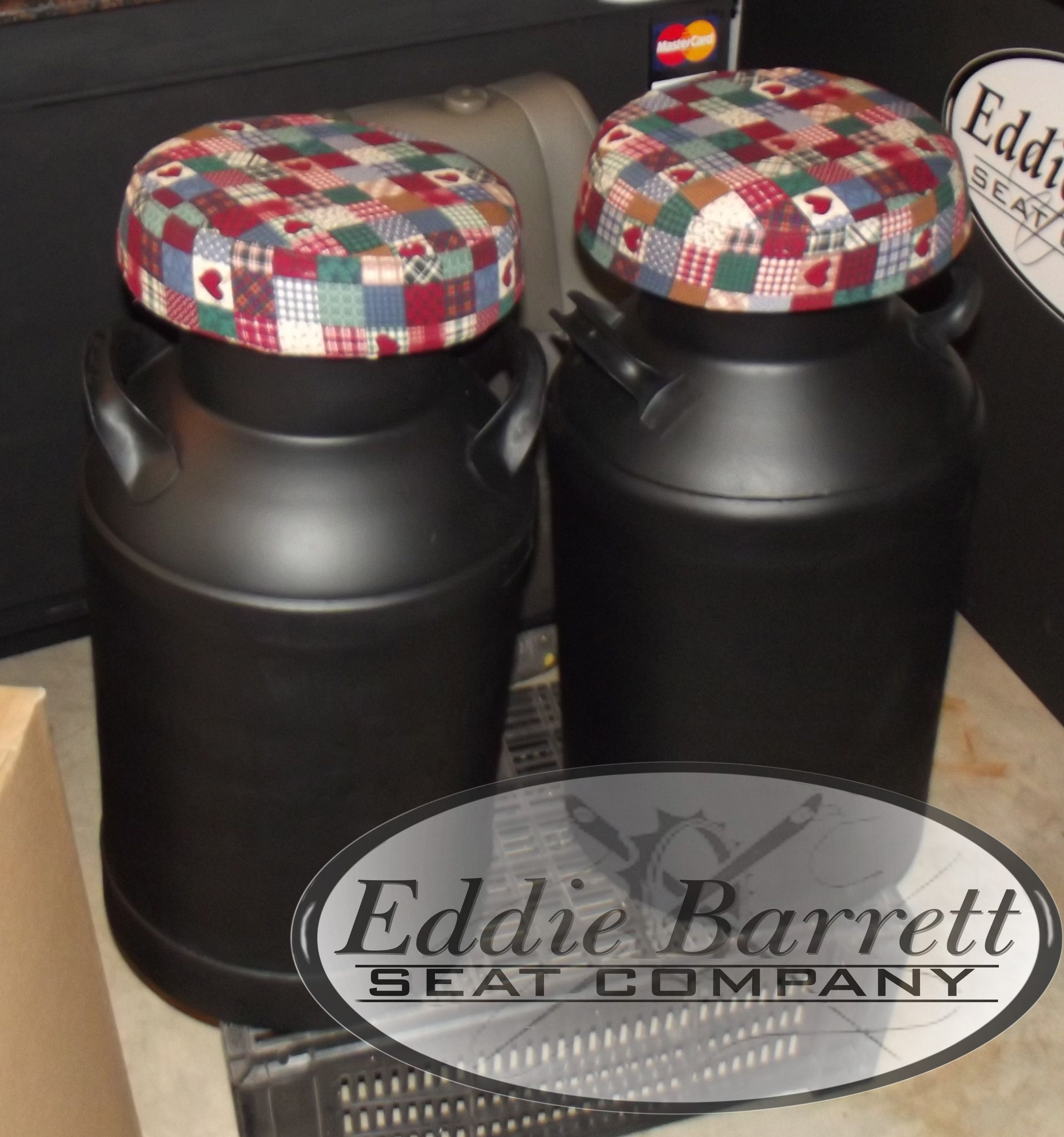 old milk can bar stools reupholster not this fabric but soooo ...