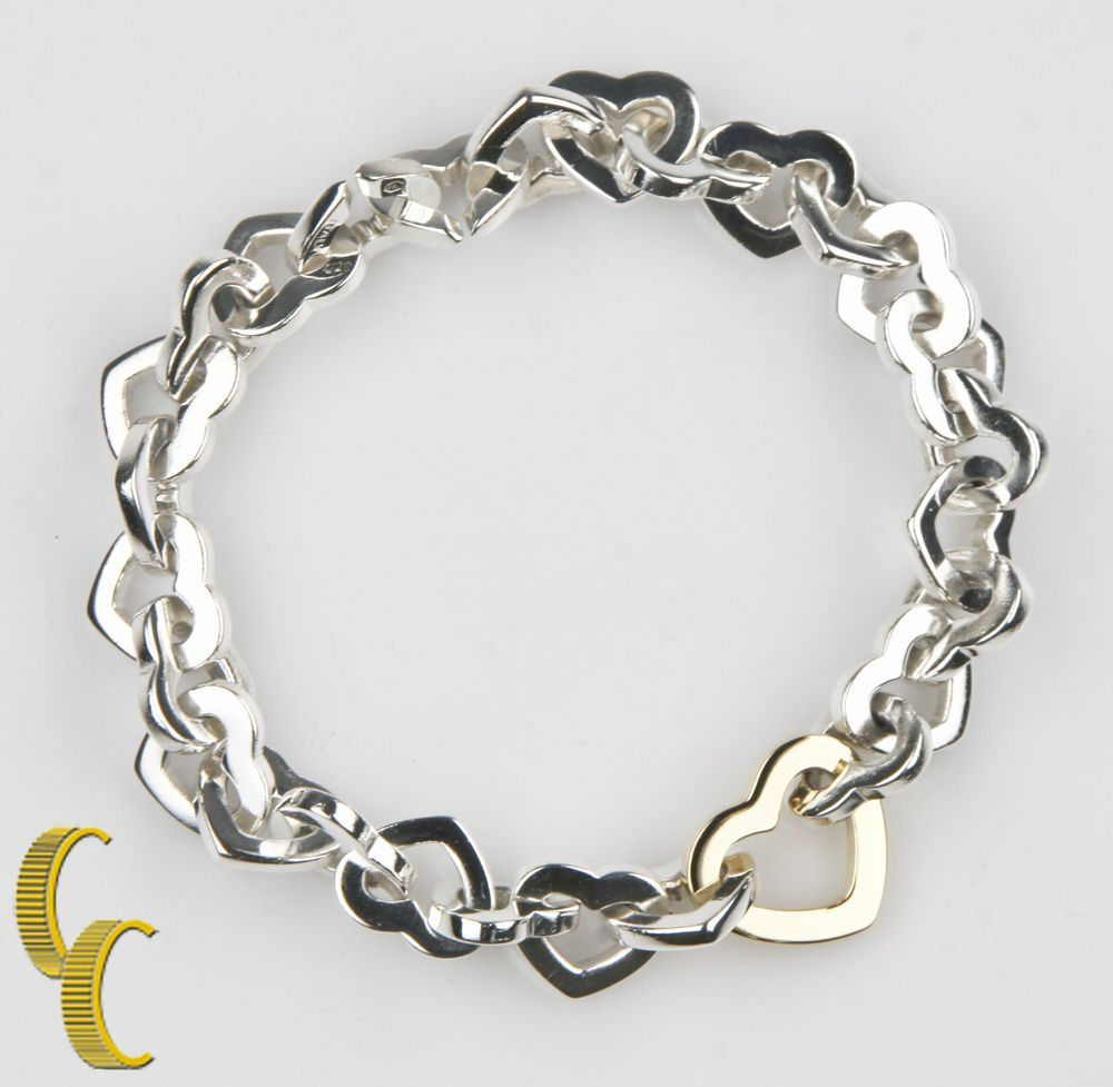 10329548b57 18k Yellow Gold and Sterling Silver Heart Link Bracelet 7.5