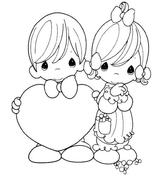 Precious Moments To Celebrate Valentine S Day Coloring For Kids