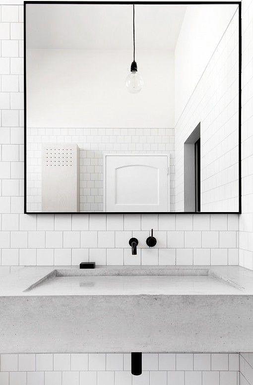 Waschtisch Beton Minimalismus wohnen Interieur schwarz weiss