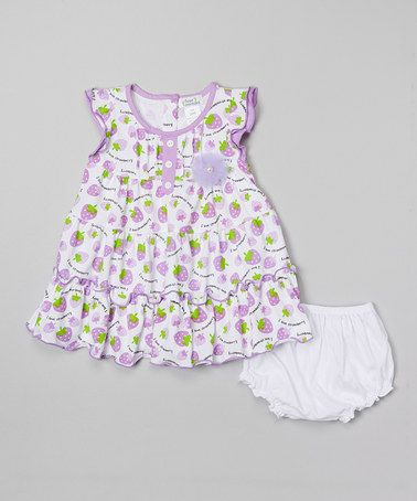Another great find on #zulily! Purple 'I Love Strawberry' Dress & Diaper Cover - Infant by Littoe Potatoes #zulilyfinds