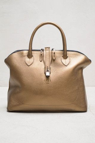 Gold Leather Tulipe Tote Bag By Golden Goose Heist