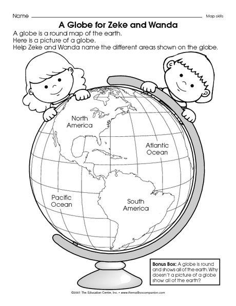 globe activity | Social studies worksheets, Kindergarten ...