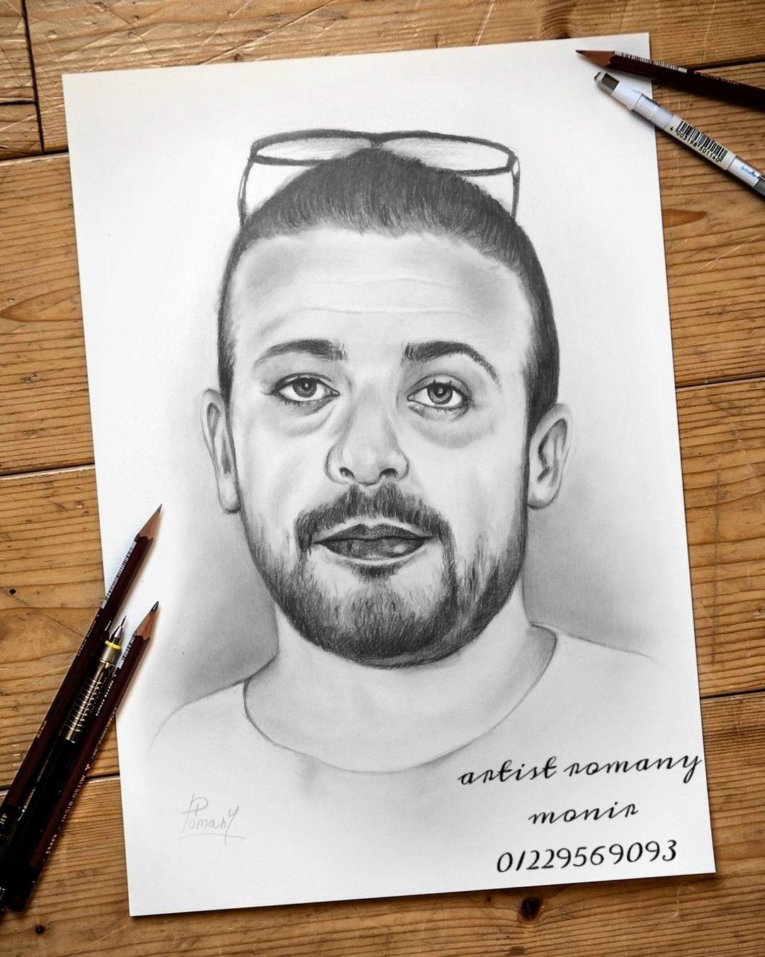 رسم بورتريه بالقلم الرصاص Art Male Sketch Male