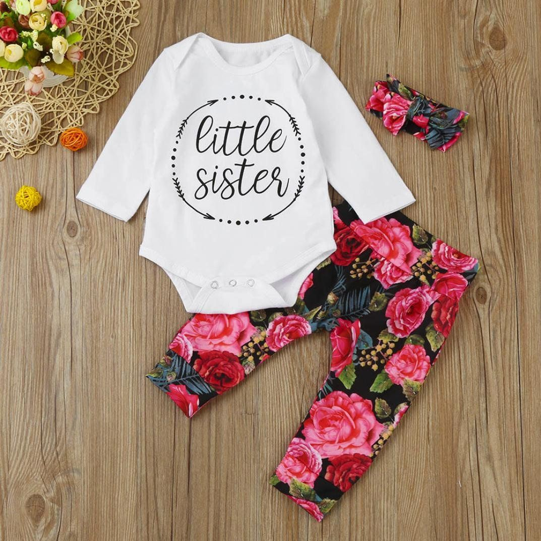 d8efdabe78e0 Sunbona 3pcs Set Outfits Infant Baby Girls Floral Print Long Sleeve Romper  Long Pants Clothes 6~12months red   Check out this great product.