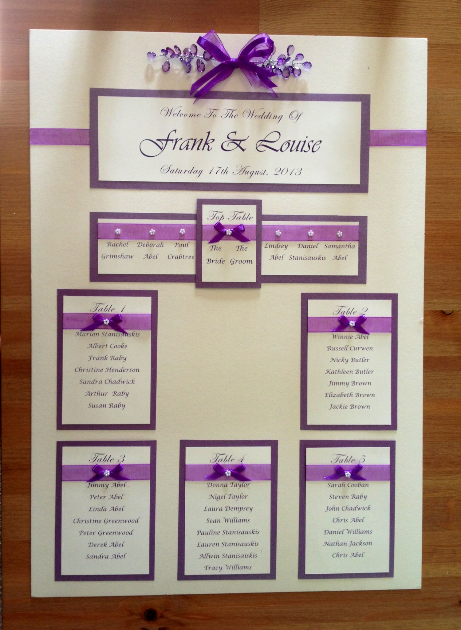 Wedding Seating Plan Idea