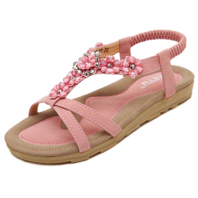 Fashion Women Flower Anti-Skidding Flat Heel Sandals de Mujer Slippers Beach Shoes Juniors Flip Flops