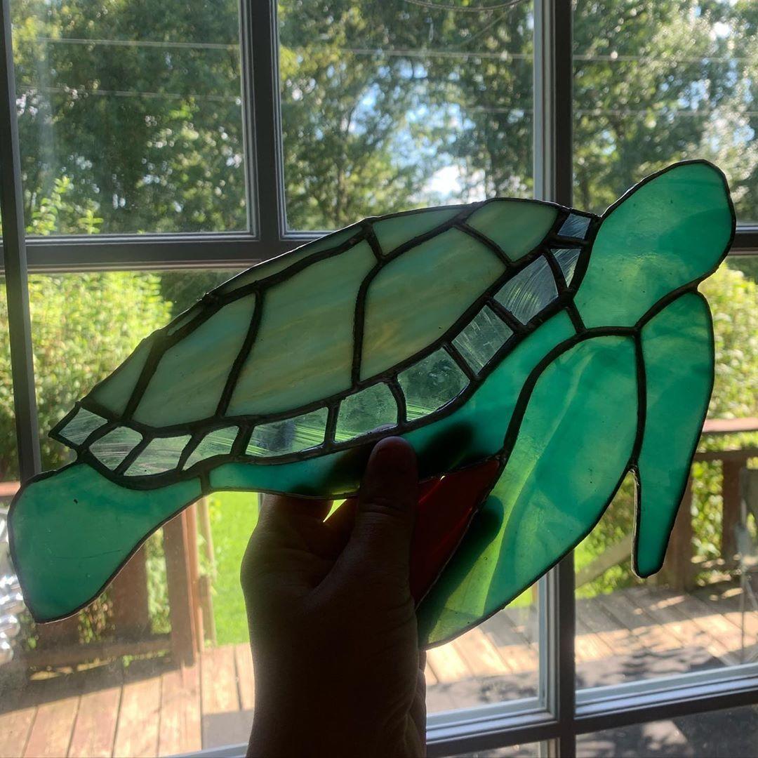 "Stained glass sea turtle Jess🪐 on Instagram: ""🌊🐢 . . . . . . . . #stainedglass #makersmovement #art #glassart #glass #artist #makersgonnamake #artoftheday #madebyme #shopsmall…"""