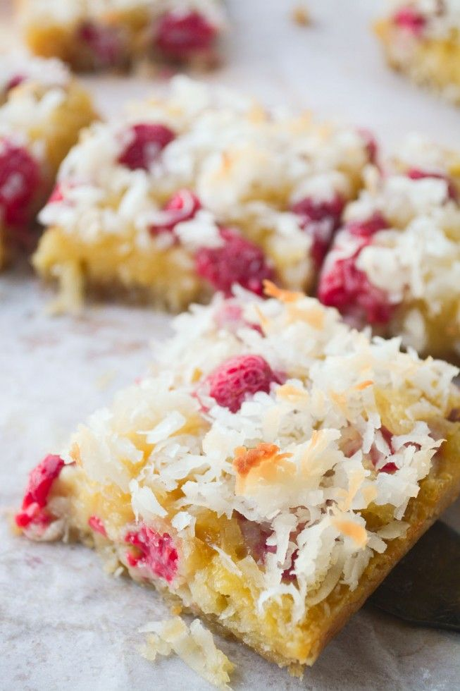 Raspberry Coconut Bars These Fresh Raspberry Coconut Bars are ooey, gooey, and delicious! Imagine your favorite coconut bar brightened up with juicy fresh raspberries ~ yum!