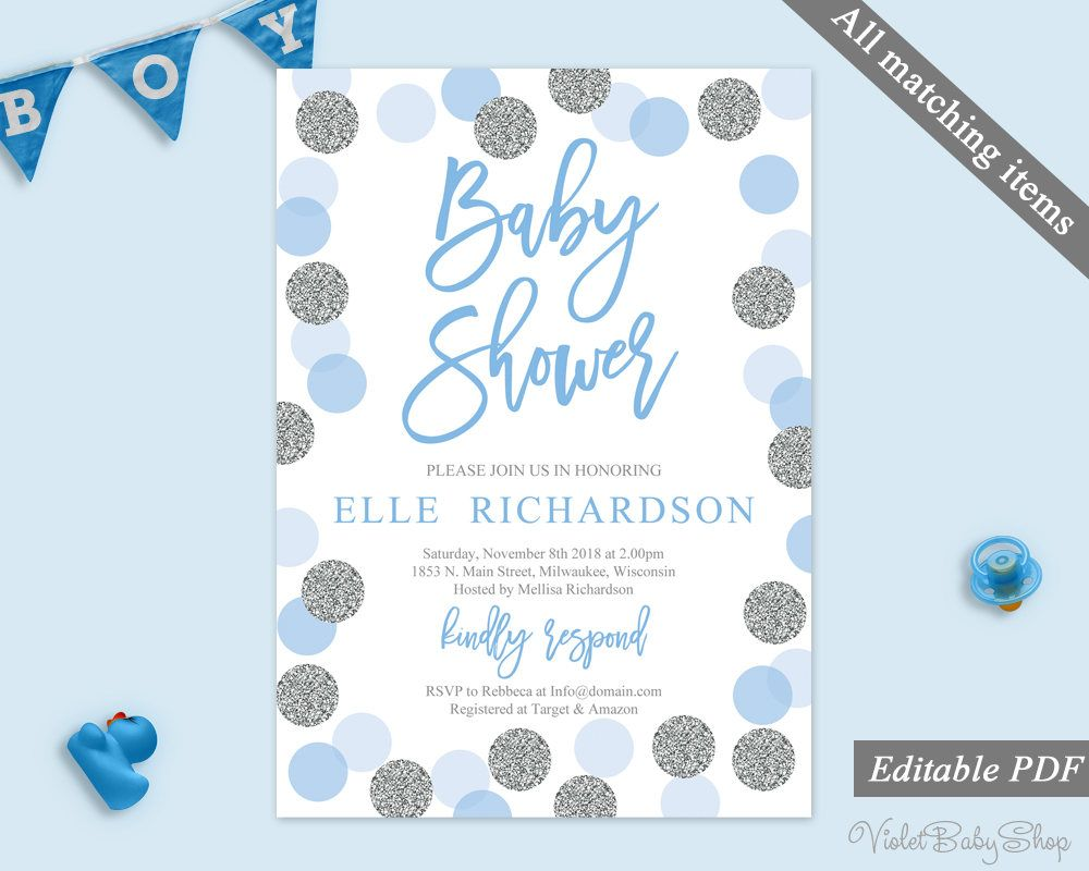 Silver And Blue Baby Shower Invitation