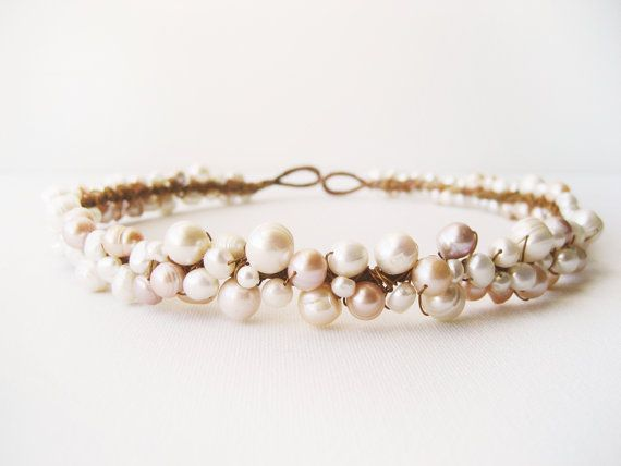 Rustic Pearl Crown, Bridal Headpiece, Beach Wedding, Bridal Tiara, Wedding Hair Accessories, Wedding Hair Crown, Freshwater Head Piece