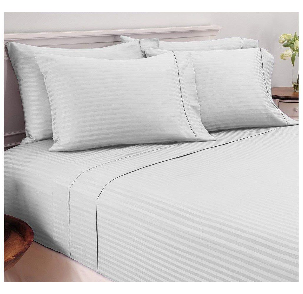 Damask stripe 600 tc egyptian cotton 6piece sheet set in