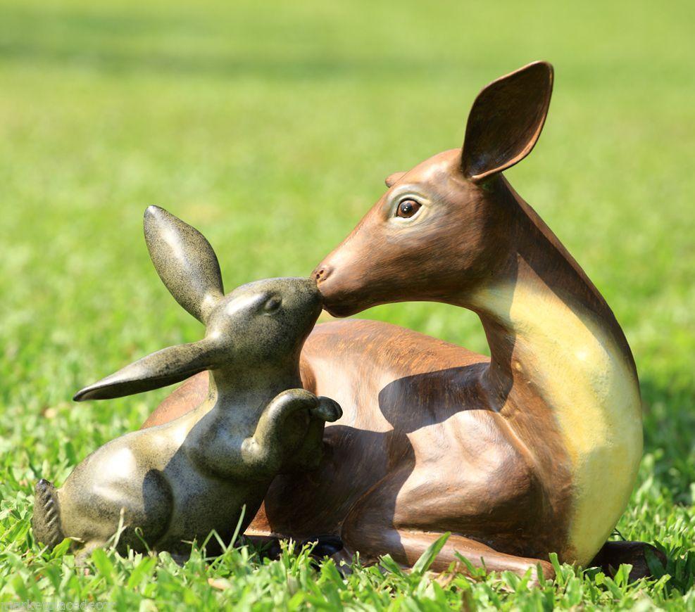Garden Best Friends Deer U0026 Rabbit Outdoor Metal Yard Sculpture Statue Bunny  #SPIHome