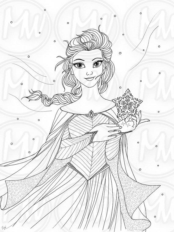 Elsa Frozen Princess Queen Coloring Page Illustration