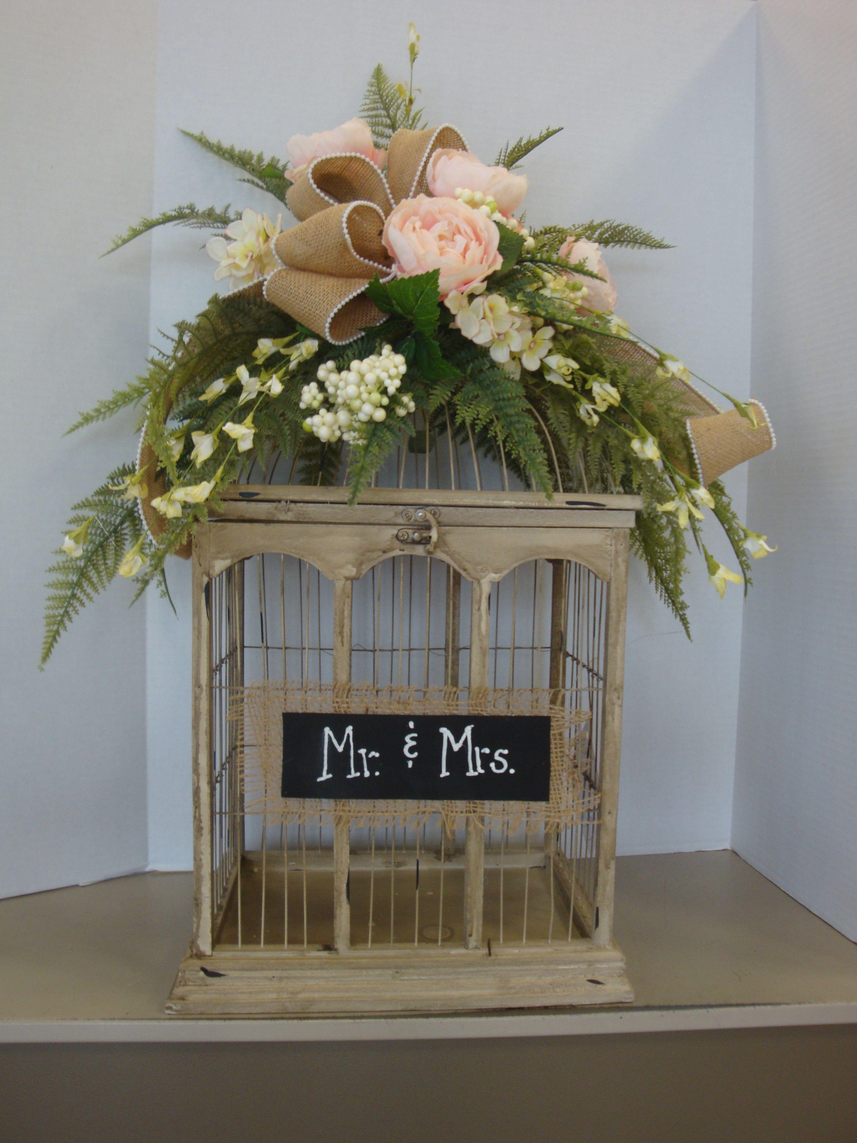Burlap and floral birdcage wedding card holder designed by