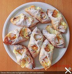 Schnelle Blätterteig - Vanillepuddingteilchen #apfelrosenblätterteig