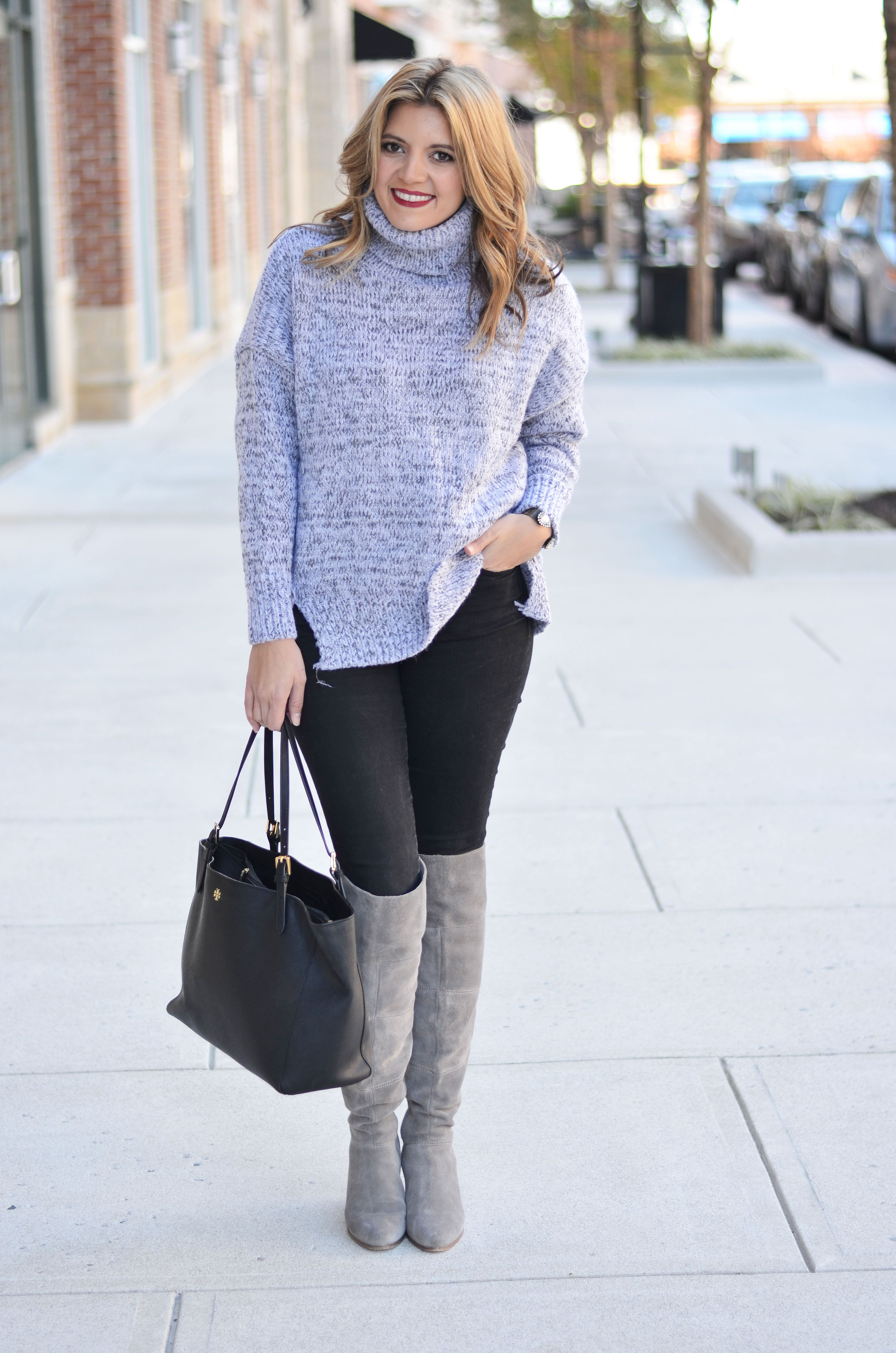 53d30157e27 oversized sweater outfit - gray oversized turtleneck with black skinny  jeans and gray over the knee boots
