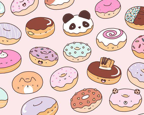 Mmm.. Donuts Kawaii Donut Doodle Art Print by KiraKiraDoodles