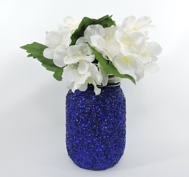 Royal Blue Centerpiece Glitter Mason Jar For Wedding Decor Baby
