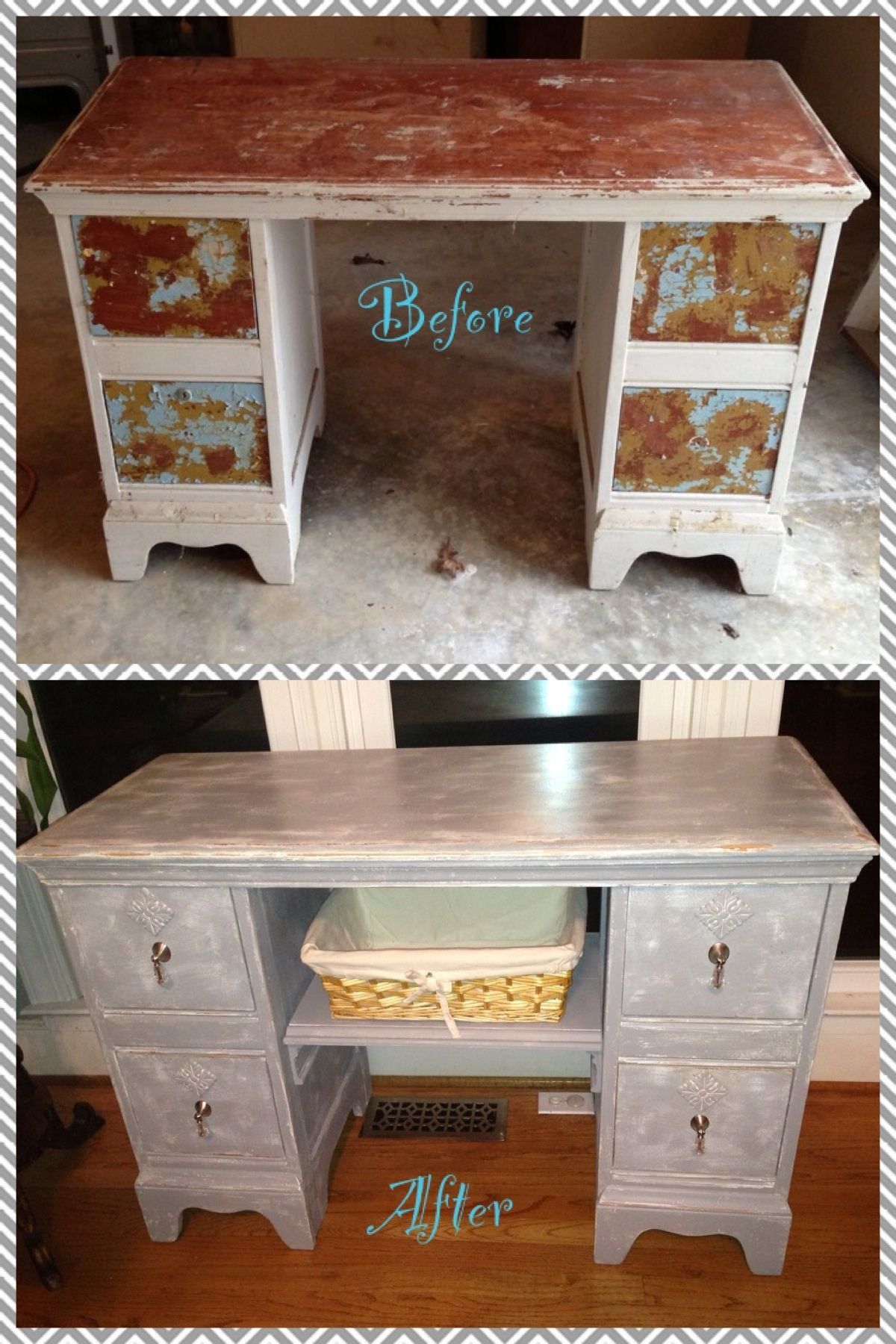 Refinished Vanity Made Into A Changing Table For A Nursery