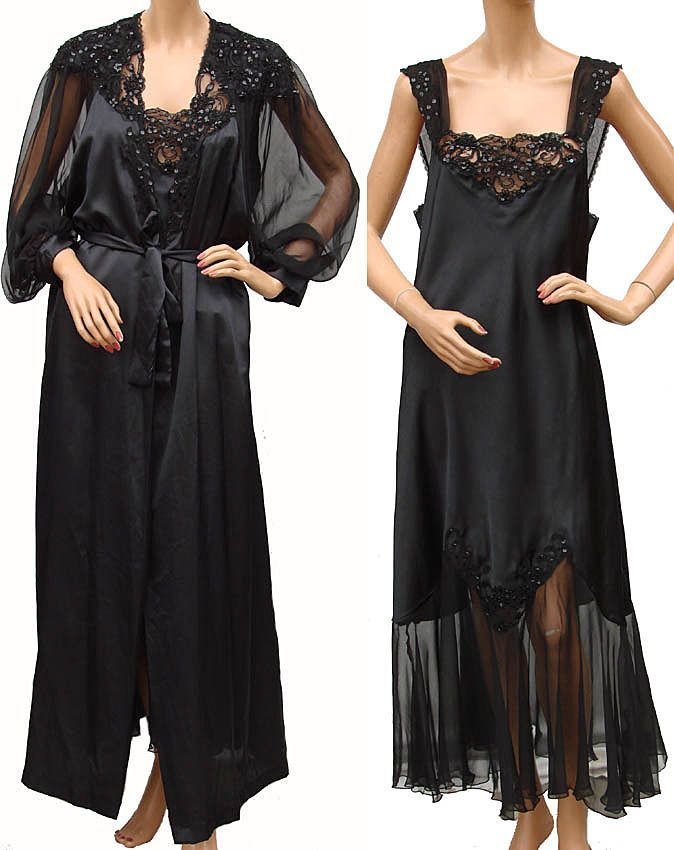 59dd74b8b3f1 Vintage 80s Christian Dior Black Negligee Nightgown and Peignoir Large