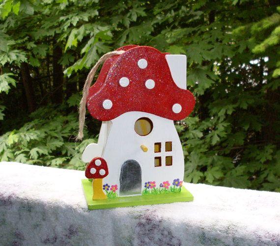 Mushroom Birdhouse by TheCraftyCuban on Etsy