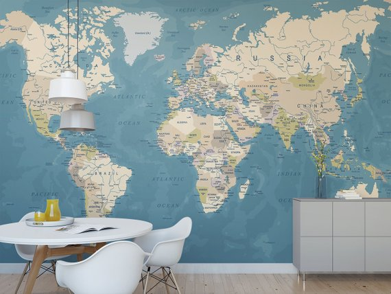 World Map Temporary Wall Mural Political Map Removable Wallpaper
