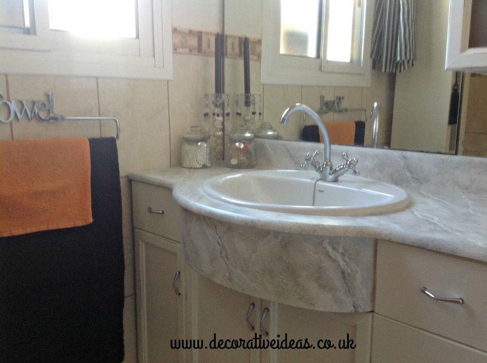 How To Faux Marble Your Bathroom Countertop With Images
