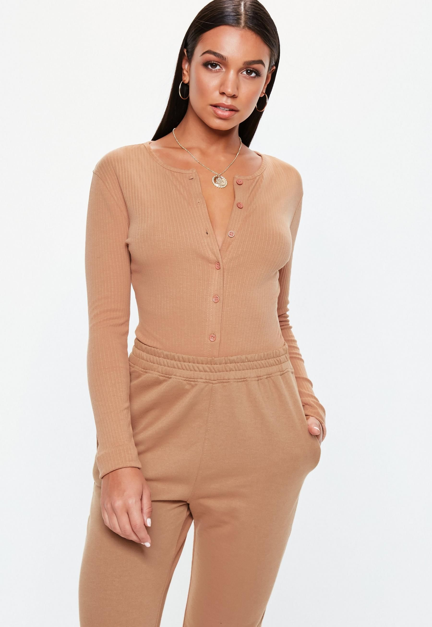 a28a4d57f9 Missguided Light Brown Ribbed Button Front Bodysuit in 2019 ...