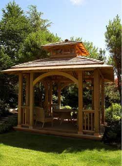 Wooden gazebo newly built wooden gazebo in our home for Built in gazebo